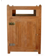 Teak Litter Receptacle with Brass and door