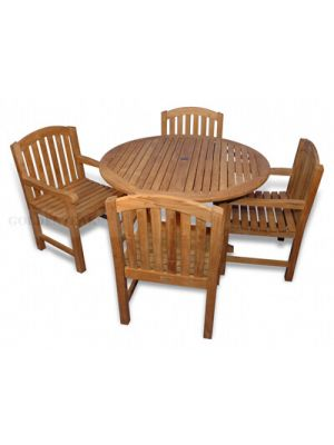 Teak Dining Set for 4, 48in Padua Round Teak Table with 4 Aquinah Arm Chairs