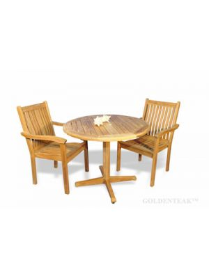 Teak Dining Set for 2, Round Table and 2 stacking chairs