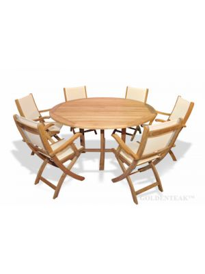 Teak Dining Set 60in Round Table and 6 Folding  sling arm Chairs cream