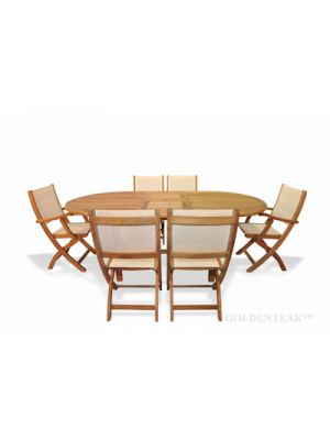 Teak Dining Set Oval Ext Table 6 Providence Chairs Cream