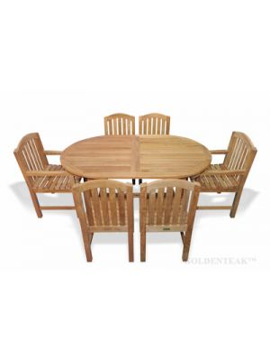 Teak Dining Set for 6, Oval Table, 6 Chairs curved top