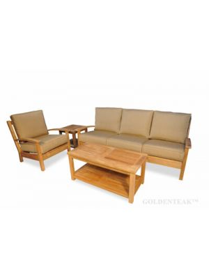 Teak Deep Seating Conversation Set with Sofa, Coffee Table, End Table