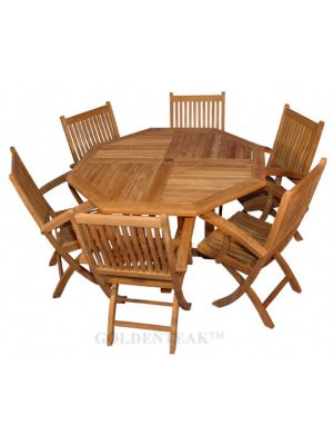 Teak Outdoor Dining for 6, Octagon Table , 6 Rockport Folding Dining Chairs