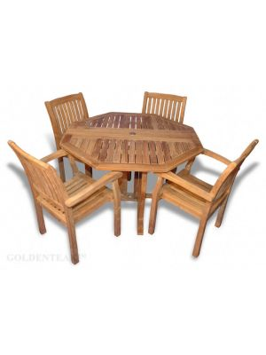 Teak Outdoor Patio Set, Octagon Folding Table and 4 Millbrook Dining Chairs