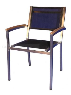 Teak, Stainless and Sling Stacking Chairs Set of 6