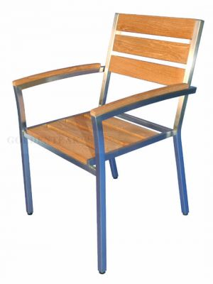 Teak and Stainless Stacking Chairs, Set of 6