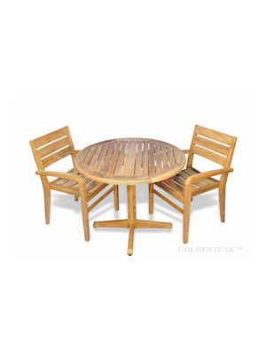Teak Dining Set Small, Round Table and 2 stacking chairs