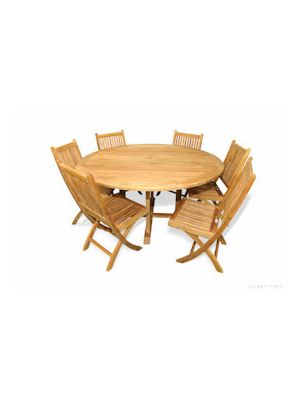 Teak Dining Set for 6, Round Table 60