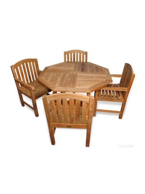 Teak Patio Set 48 inch Octagon Table and 4 Aquinah Dining Chairs