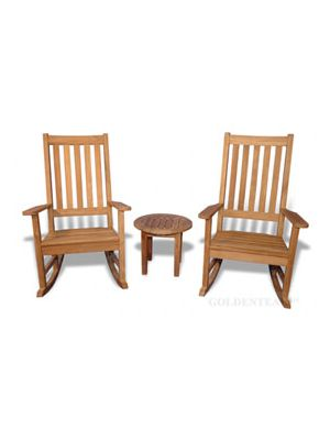 Teak Porch Rocking Chair Set