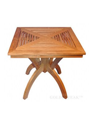 Teak Pedestal Dining Table 31 inch Sq - Root Design