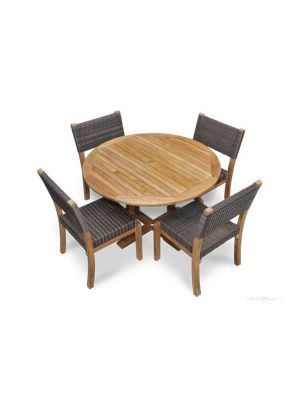 Teak Dining Set Round Table, 4 Teak Wicker Stacking Side Chairs