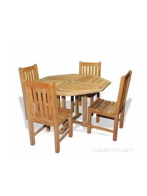 Teak Patio Dining Set, Octagon table and 4 Block Island Chairs