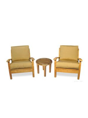 Teak Deep Seating Conversation Set - Club Chairs and Round End Table