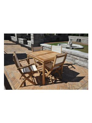 Teak Outdoor Dining Set for 4, Sq. Table & Folding Chairs