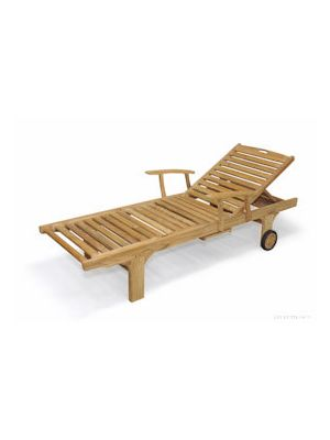 Teak Outdoor Sunlounger with arms