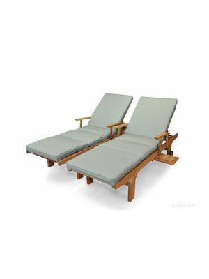 Teak Chaise Lounge Sun Lounger with Arms PAIR with Cushion