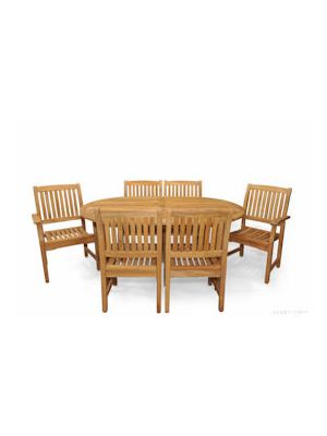 Teak Patio Dining Set for 6 - Oval Table & 6 Chairs