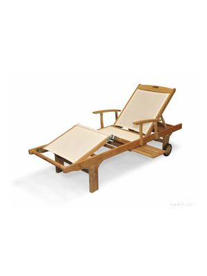 Teak Chaise Lounge Sunlounger  with arm, CREAM Sling Fabric - SINGLE