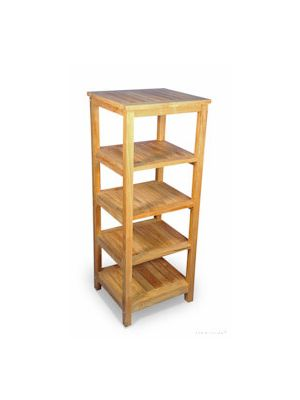 Solid Teak Square 5 tier shelf unit