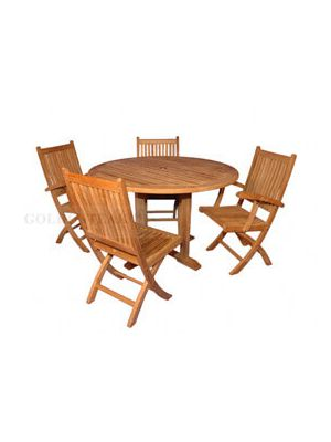 Teak Dining Set Padua 48 in, 2 Rockport Dining Chairs, 2 Rockport  Side Chairs