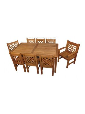 Teak Dining Set - Harvest Table Chippendale Chairs |  Premium Teak