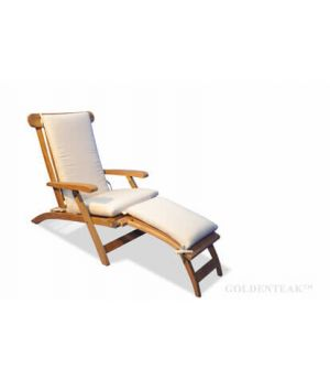 Teak Steamer Chair Chaise Lounge and Cushion Set