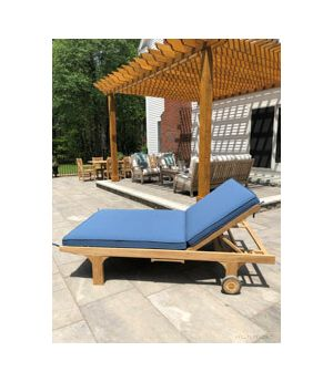 Teak Double Chaise Lounge with Cushion