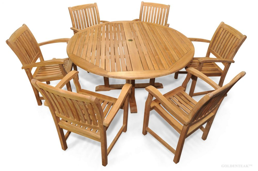 Teak Patio Dining Set For 6 Round Table, 60 Inch Round Dining Table With 6 Chairs Set