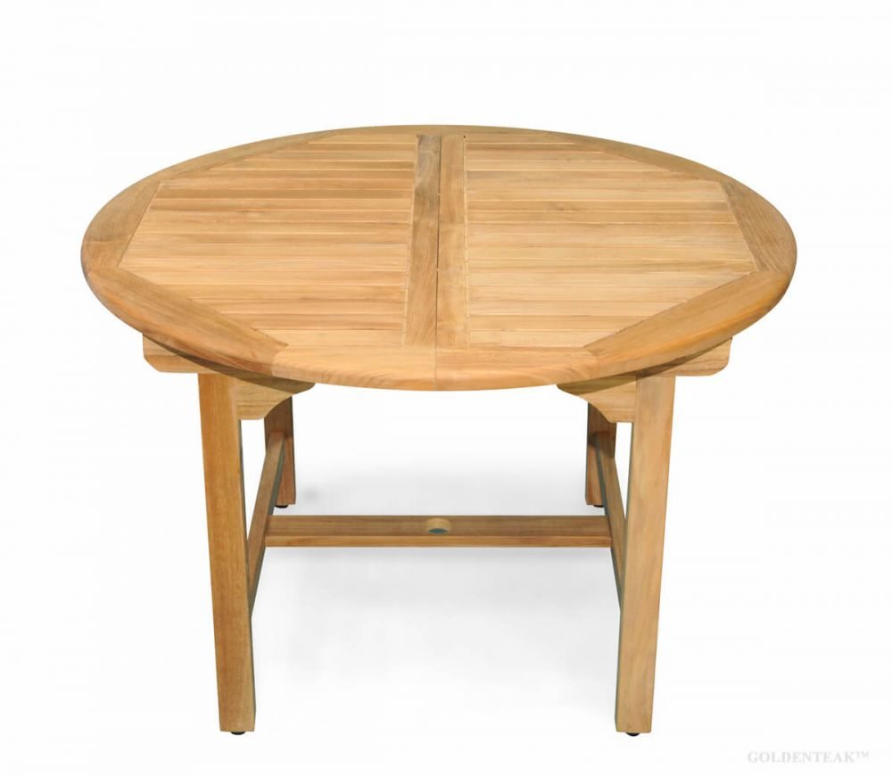 Teak Table With Round Extension 48 16 Leaf Teak Dining Tables