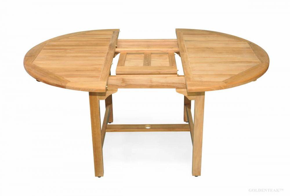 Teak Table With Round Extension 48 16, Round Dining Table With Extension Leaf