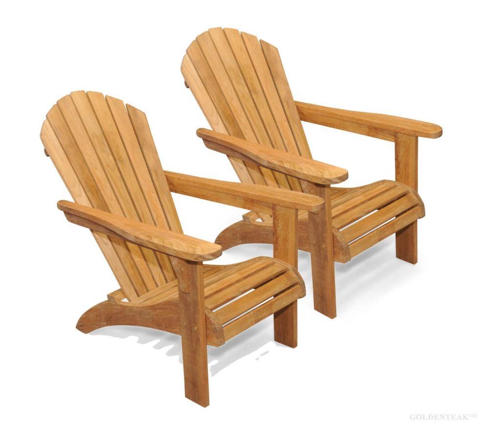 Teak Adirondack Chair Pair Save On Set Goldenteak Teak Patio