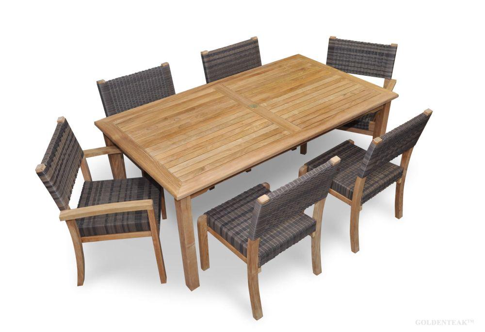 Bar Height Glass Table, Teak Patio Dining Set For 6 Teak And Wicker Goldenteak