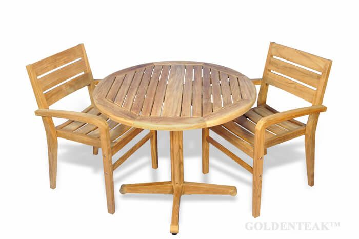Small Teak Outdoor Patio Dining Set Round Table And 2 Stacking Chairs