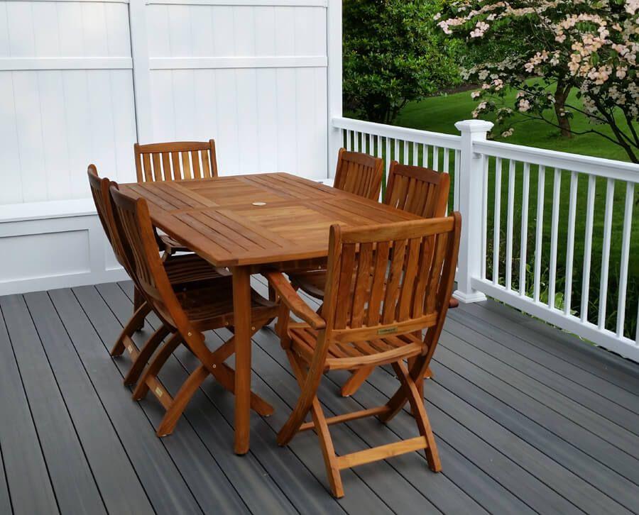 Bar Height Glass Table, Teak Outdoor Dining Set For 6 Manhattan Teak Patio Furniture