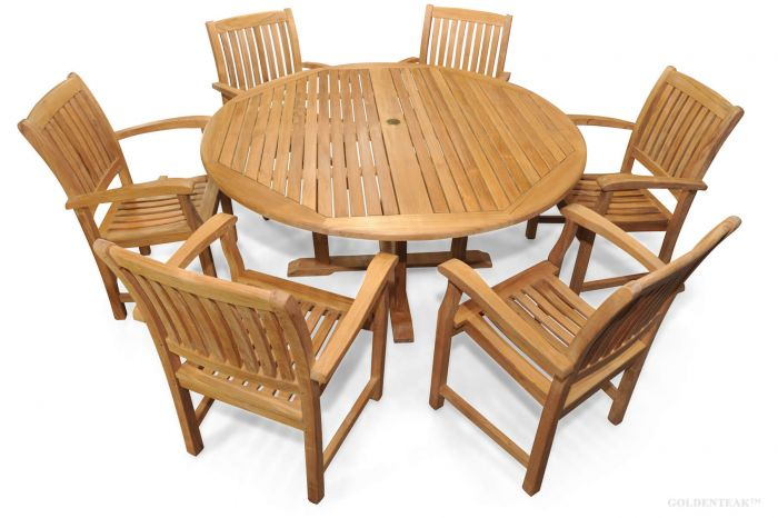 Teak Patio Dining Set Round Table 6 Millbrook Chairs - Teak Patio Dining Set For 6 Round Table 60in 6 Millbrook Chairs