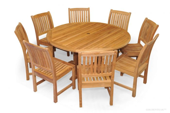 Amazing Teak Dining Set For 8 60In Round Table 8 Chairs Premium Teak Home Interior And Landscaping Ponolsignezvosmurscom