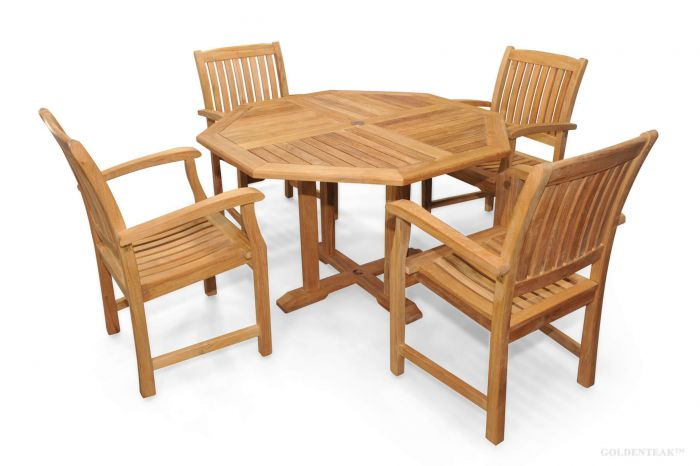 Teak Patio Dining Set Octagon Table And