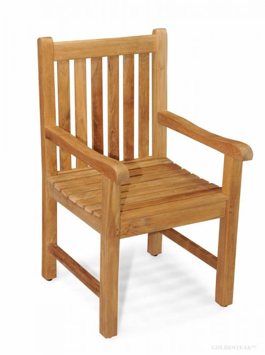 Marvelous Solid Teak Block Island Dining Chair With Arms