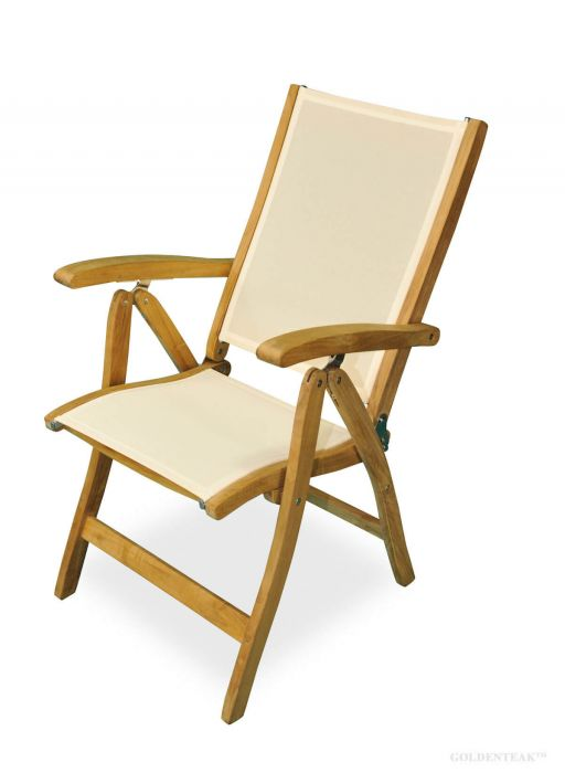 Charmant Teak Recliner Chair With Batyline Fabric Cream