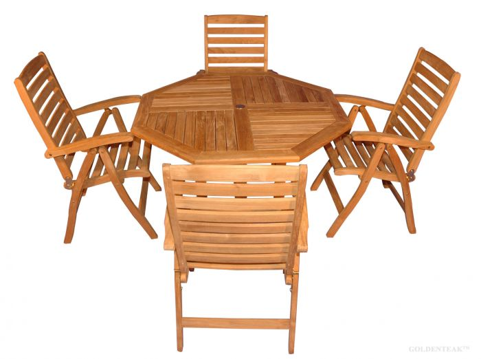 Teak Patio Dining Set Teak Oct Table 4 Reclining Chairs Portsmouth
