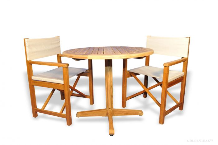 Delicieux Teak Patio Set, Pedestal Table And 2 Directors Chairs
