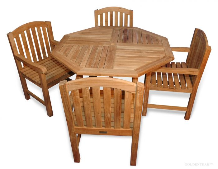 Teak Dining Set Teak Octagon Table And Aquinah Chairs With Arms - 48 inch outdoor table