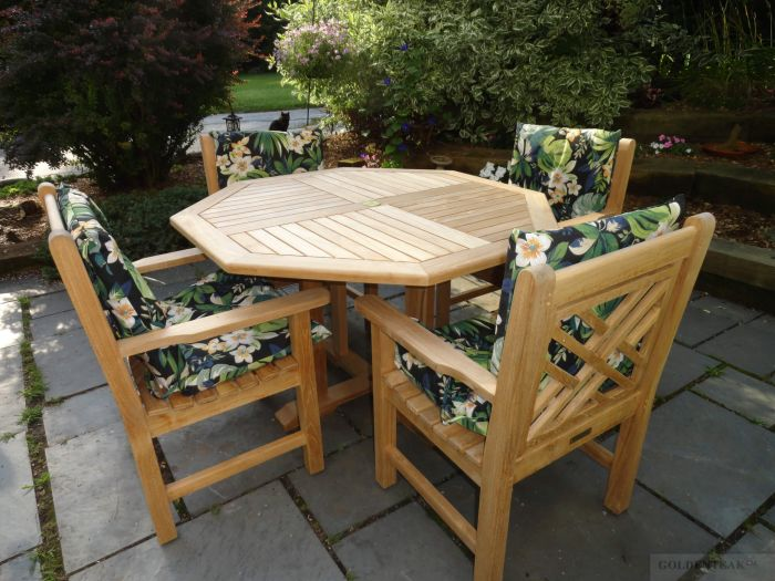 Teak Dining Set Octagon Table In Chippendale Chairs With Arms - Teak patio table with leaf