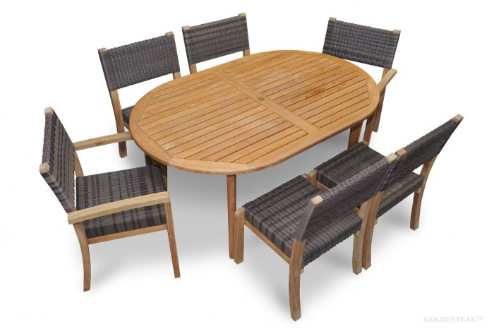 Enjoyable Teak Westport Dining Set For 6 Teak Wicker Stacking Chairs And Teak Oval Table Unemploymentrelief Wooden Chair Designs For Living Room Unemploymentrelieforg