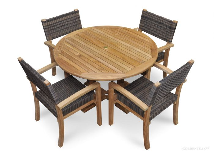Teak DIning Set For 4 Teak And Wicker Chairs And Teak Round Table