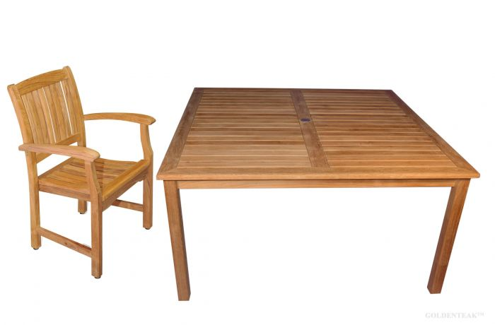 Teak Patio Dining Set For 8 60in Sq Table Premium Teak