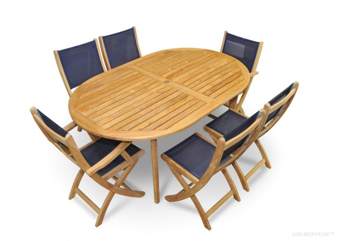 Teak Outdoor Dining Set Oval Table Navy Sling Folding Providence Chairs - Oval teak outdoor dining table