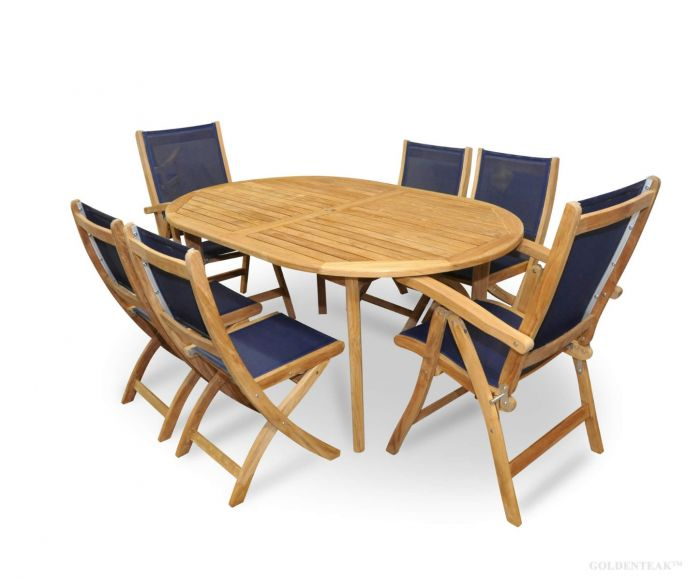 Admirable Teak Patio Dining Set For 6 Navy Sling With Reclining And Folding Chairs Machost Co Dining Chair Design Ideas Machostcouk